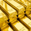 Stacks of gold bars close up — 图库照片