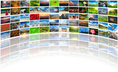 Abstract multimedia background composed of many images with copy — Stock Photo