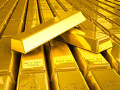 Stacks of gold bars close up — Stock Photo