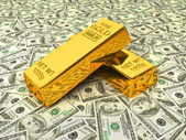 Gold bars on dollars — Stock Photo