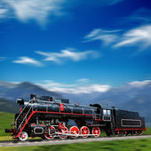 Speeding old locomotive in mountains with motion blur — Stock Photo