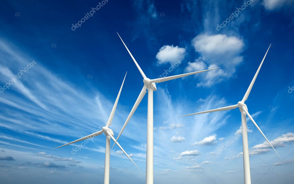 Green renewable energy concept - wind generator turbines in sky — Stock Photo #9530011