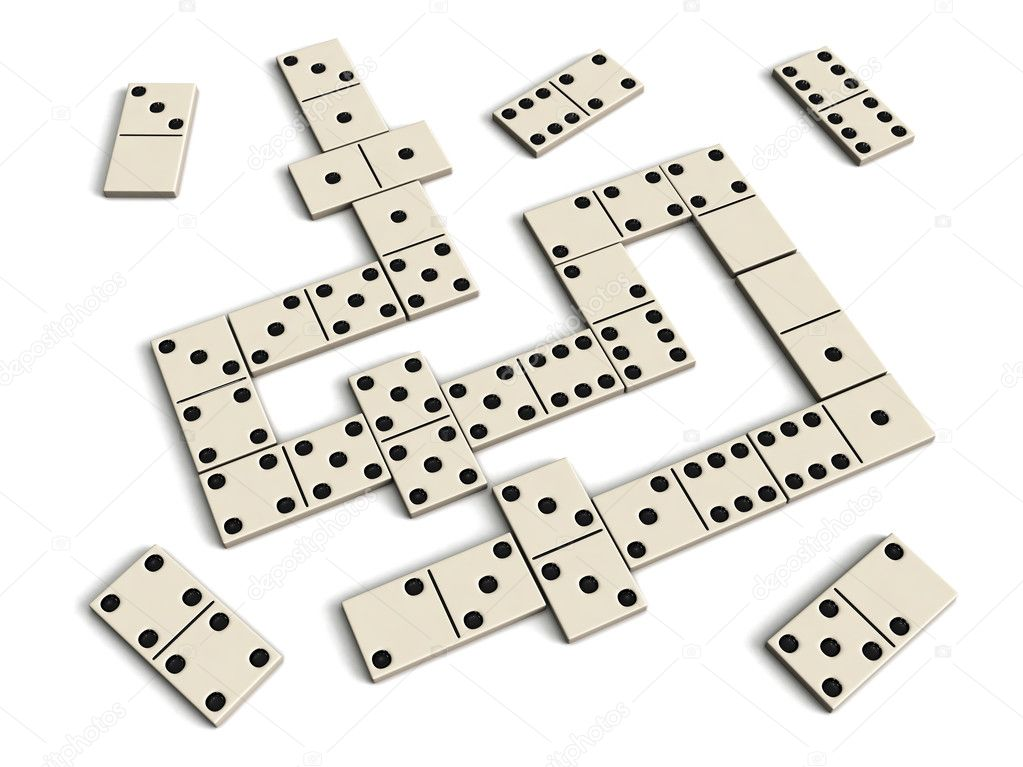 Domino game - white dominoes isolated on white background — Stock Photo #9530024