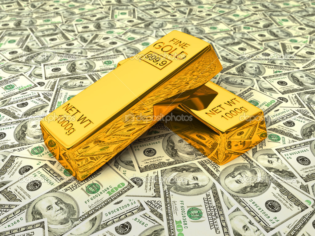 Invest in gold - bank gold bars bullions on dollars  Stock Photo #9530096