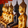Sitting Buddha statues, Thailand — Stock Photo