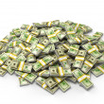 högen av dollarn buntar — Stockfoto