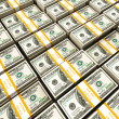 Background of rows of dollar bundles - Stock Photo