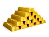 Gold bars pyramid — Stock Photo