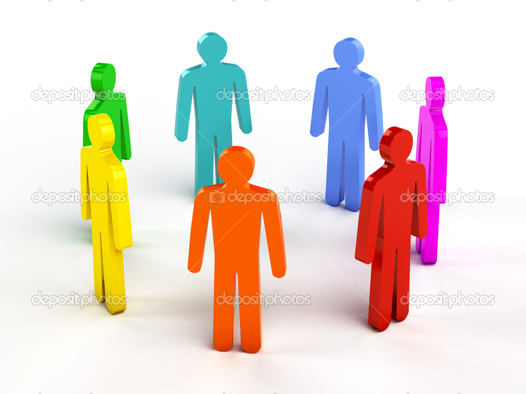 Diversity, teamwork, social network concept - colorful human figures in circle on white  Stock Photo #9777975