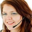 Young beautiful call center female operator portrait isolated on white — Stock Photo