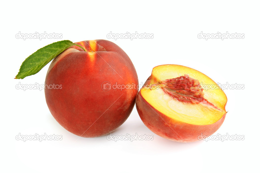 Fresh ripe peach with leaf and section isolated on white — Stock Photo #10571830