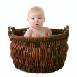 Little girl in the basket — Stock Photo