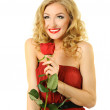 Valentine girl with rose — Stock Photo #8886399