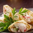 Rolled pancakes stuffed — Stock Photo #10008572
