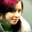Emo look girl with red hai — Stock Photo #10008602