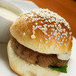 Hamburger with french fries — ストック写真