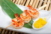Japanese skewered royal prawn — Stock Photo