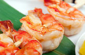Japanese skewered royal prawn — Stock Photo