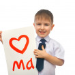Boy hugging drawn heart — Stock Photo