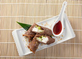 Dessert Maki Sushi - Chocolate Roll with Various Fruit and Cream — Stock Photo