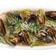 Mussels with vegetable and nut — Stock Photo #8683270