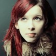 Stock Photo: Emo look girl with red hair