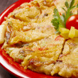 Japanese food close-up Okonomiyaki. — Stock Photo