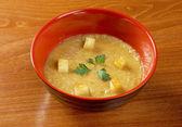 Gazpacho with garlic croutons — Stock Photo