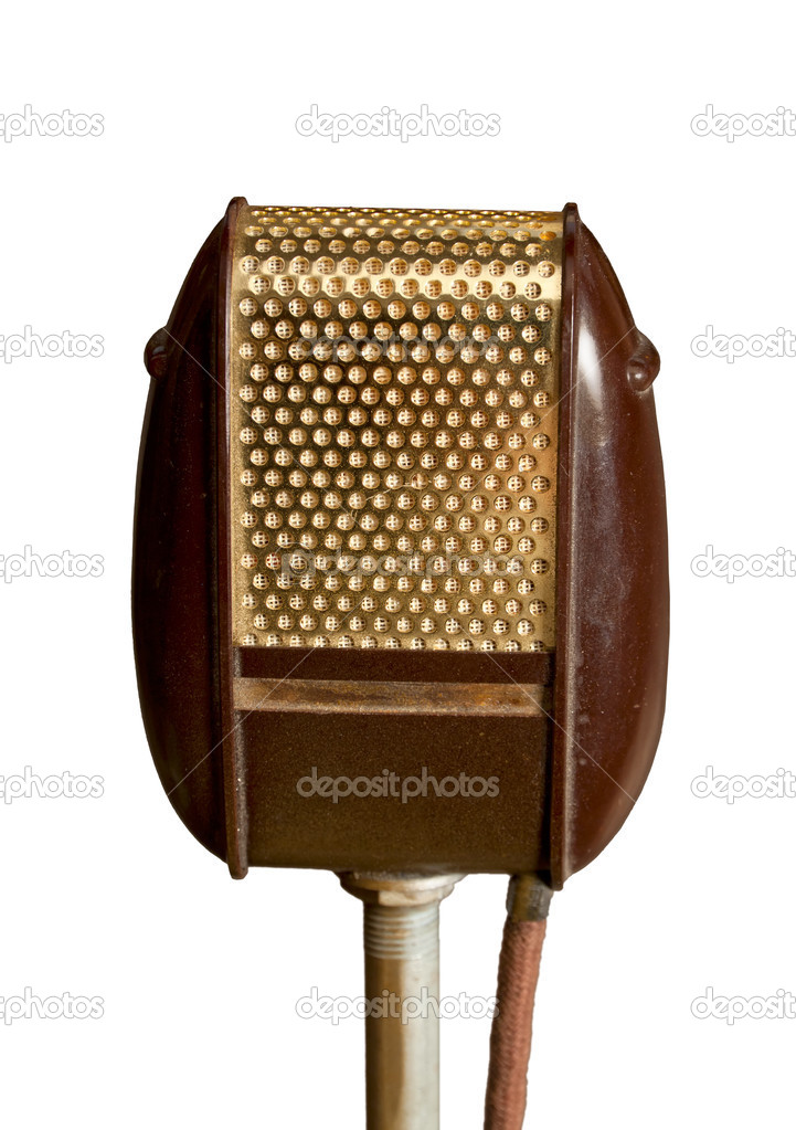 Ancient golden - brown microphone isolated on white background. — Stock Photo #8855860