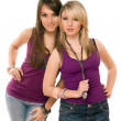 Two pretty young ladies - Stock Photo