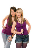 Twee mooie jonge dames — Stockfoto