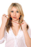 Bewitching blond lady.Upperhalf — Stock Photo