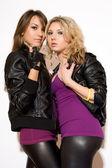 Figlarny seksowna blondynka i brunetka dziewczynka — Zdjęcie stockowe