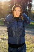 Sensual girl in autumn park — Stock Photo
