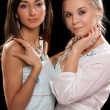 Portrait of a two pretty young women — Stock Photo