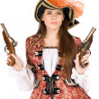 Gorgeous young woman with guns — Stock Photo
