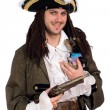 Man in a pirate costume with small dog — Stock Photo #8276340
