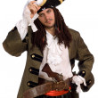 Portrait of young man in a pirate costume — Stock Photo