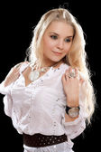 Young blonde in white shirt — Stock Photo