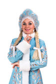 Portrait of a smiling Snow Maiden — Stock Photo