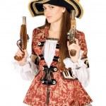 拿着枪的魅力女人打扮成海盗 — 图库照片