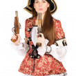 Pretty woman with guns dressed as pirates — Stockfoto