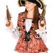 Attractive woman with guns dressed as pirates — Stock Photo