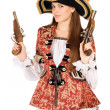 Attractive woman with guns dressed as pirates — Stockfoto