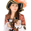 Stock Photo: Charming young woman with guns