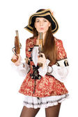Pretty woman with guns dressed as pirates — Stock Photo
