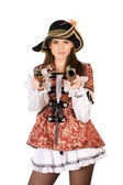 Beautiful woman with guns dressed as pirates — Stock Photo