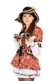 Perfect woman with guns dressed as pirates — Stock Photo