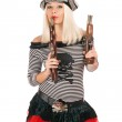 Pretty girl with guns — Stock Photo