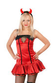 Nice blonde is wearing a devil costume — Stock Photo